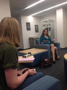 News Director Sara McCloskey speaking with Geena Davis. © Riley Ludwig 2015